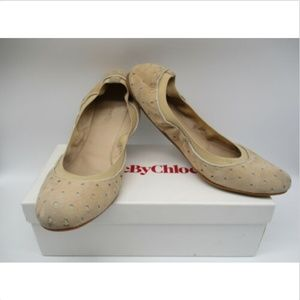 SEE BY CHLOE BEIGE SUEDE STATR CUT OUT FLATS SZ 40